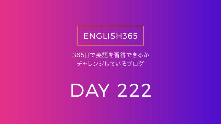 英語習得チャレンジ「222日目」…ゾロ目だ