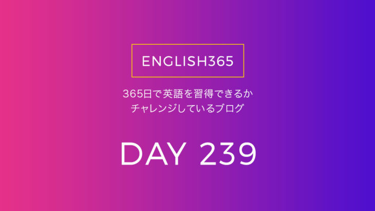 英語習得チャレンジ「239日目」…遅くない